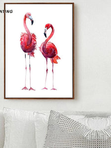 Watercolor Bird Flamingo Wall Art Canvas Posters and Prints Nordic Style Painting Decorative Picture Home Bedroom Decoration - SallyHomey Life's Beautiful