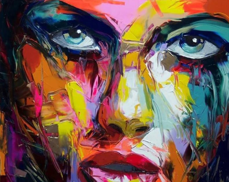 Large Size Hand Painted Abstract Figure Oil Painting On Canvas Woman Face Wall Pictures For Living Room Bedroom Home Decor - SallyHomey Life's Beautiful