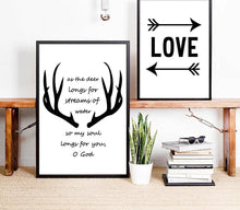Load image into Gallery viewer, Nordic Style Deer Antlers Bible Canvas Poster Minimalist Wall Art Prints Black White Abstract Painting Picture Modern Home Decor - SallyHomey Life's Beautiful