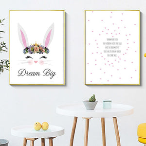 Cartoon Rabbit Nursery Quotes Canvas Poster Minimalist Wall Art Print Painting Nordic Kids Decoration Picture Baby Bedroom Decor - SallyHomey Life's Beautiful