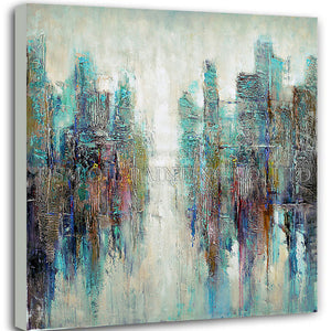 Master Artist Handmade High Quality Modern Abstract City Oil Painting on Canvas Colorful Turquoise Oil Painting for Living Room - SallyHomey Life's Beautiful
