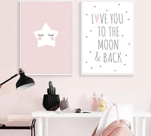 Load image into Gallery viewer, Cute Moon Star Baby Nursery Wall Art Canvas Posters Prints Cartoon Painting Nordic Kids Decoration Picture Baby Bedroom Decor - SallyHomey Life's Beautiful