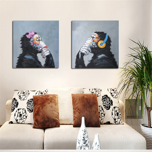 Print Modern Abstract Thinking Monkey with Headphone Cartoon Canvas Painting Animals Funny Wall Art Home Decor for Living Room - SallyHomey Life's Beautiful