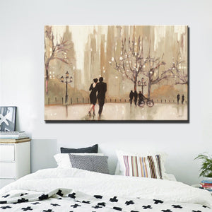 Modern Abstract Canvas Painting City Romantic Landscape Wall Art Poster Lovers Walks Prints On Canvas for Living Room Home Decor - SallyHomey Life's Beautiful