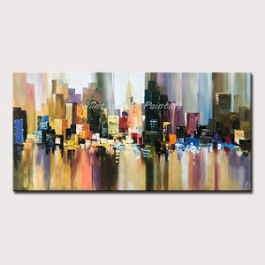 Mintura Hand Painted New York Building Picture Abstract Modern Palette Knife Oil Painting On Canvas Living Room Wall Art Decor - SallyHomey Life's Beautiful