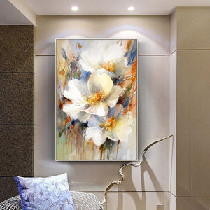 100% Hand Painted Abstract White Flower Oil Painting On Canvas Wall Art Frameless Picture Decoration For Live Room Home Decor