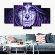Load image into Gallery viewer, Modern Art Posters and Prints Wall Art Canvas Painting 5Pcs DAY OF THE DEAD Girl Decorative Pictures for Living Room Home Decor - SallyHomey Life's Beautiful