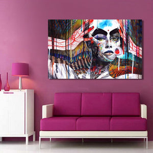 Abstract Art Poster and HD Print on Canvas Wall Art Painting Abstract Colorful Witch Decorative Pictures for Living Room Decor - SallyHomey Life's Beautiful