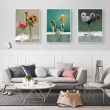Load image into Gallery viewer, Modern Posters and Prints Wall Art Canvas Painting Colorful Flowers In the Vase Pictures Wall Decoration for Living Room Wall - SallyHomey Life's Beautiful