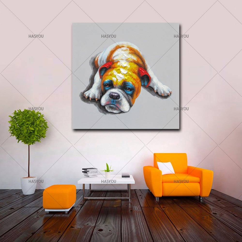 100% Hand Painted -Professional Artist high quality - Modern Picture animal Oil Painting On Canvas Funny dog Oil Picture For Wall Decor