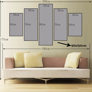 5Pcs Modern Digital Printed Wall Art Poster Thousands Steeds Gallop Canvas Prints Wall Decoration For Living Room Wall No Frame - SallyHomey Life's Beautiful