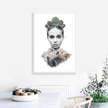 Load image into Gallery viewer, Modern Portrait Poster And Print Wall Art Canvas Painting Noble Indian Feather Art Wall Pictures For Living Room Home Decoration - SallyHomey Life's Beautiful