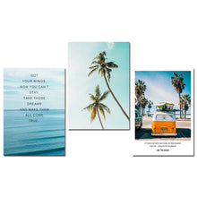 Load image into Gallery viewer, Tropical Sea Palm tree Bus Landscape Wall Art Canvas Poster Nordic Motivational Prints Painting Wall Picture for Living Room - SallyHomey Life's Beautiful