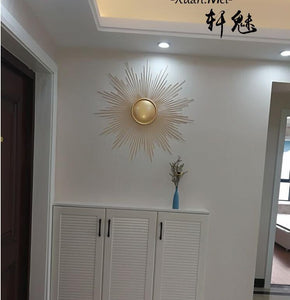 Modern Wrought Iron Sun Wall Hanging Crafts Decoration Hotel Porch Wall Sticker Ornaments Home Livingroom Wall Mural Accessories - SallyHomey Life's Beautiful