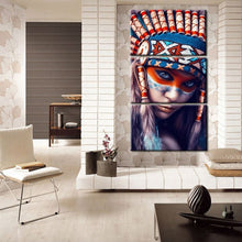 Load image into Gallery viewer, Modern 3Pcs Portrait Painting Wall Art Poster For Living Room Wall Feathered Pride Indian Girl Picture Home Decoration No Frame - SallyHomey Life's Beautiful