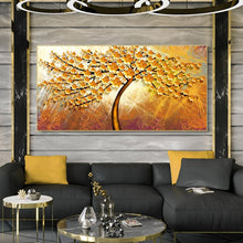Load image into Gallery viewer, Golden Money Trees Decorative Pictures for Living Room Home Decor No Frame - SallyHomey Life's Beautiful