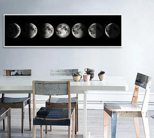 🔥 Eclipse of The Moon Canvas Poster Minimalist Art Painting Universe Wall Picture Long Banner Print Living Room Bedroom Decoration - SallyHomey Life's Beautiful