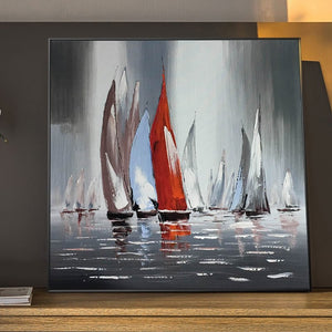 Wall Decoration Canvas Painting Modern Abstract Seascape Posters and Prints Wall Art Sailboat Pictures for Living Room Frameless - SallyHomey Life's Beautiful