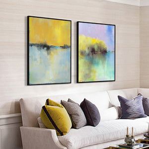 wall painting living room 2 panel Oil painting on canvas handmade Modern abstract dinning room cuadros pared decorativas art - SallyHomey Life's Beautiful