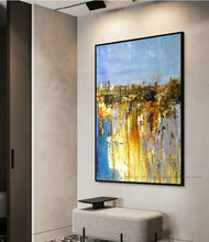 Load image into Gallery viewer, Oil Painting on canvas original Abstract Art Modern yellow blue vertical acrylic Painting Canvas Art Living Room Art pictures - SallyHomey Life's Beautiful