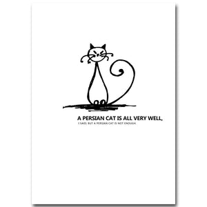 Cartoon Lazy Cat Minimalist Art Canvas Nursery Poster Painting Funny Wall Picture Home Children Room Decoration - SallyHomey Life's Beautiful