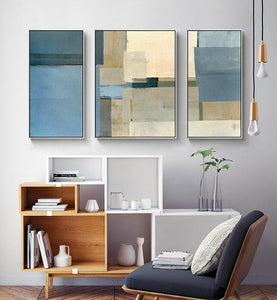 Decorative canvas painting 3 piece canvas wall art wall pictures for living room yellow blue grey abstract painting acrylic art - SallyHomey Life's Beautiful
