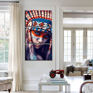Modern 3Pcs Portrait Painting Wall Art Poster For Living Room Wall Feathered Pride Indian Girl Picture Home Decoration No Frame - SallyHomey Life's Beautiful