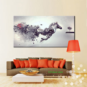 Modern Abstract Canvas Painting Medley Fly Horse HD Printed Poster Wall Art Painting for Living Room Home Decor Gift Frameless - SallyHomey Life's Beautiful