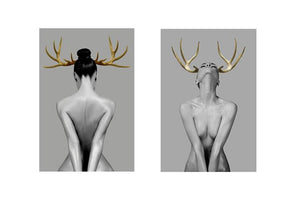 Portrait Posters and Prints Wall Art Canvas Painting for Living Room Home Decoration Sexy Golden Antlers Woman Pictures No Frame - SallyHomey Life's Beautiful