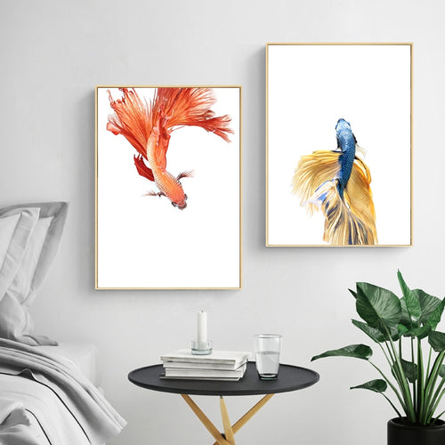 100% Hand Painted Morden Golden Fishs Art Oil Painting On Canvas Wall Art Wall Adornment Pictures For Live Rooms Home Decoration