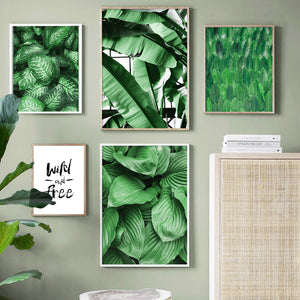 Green Hosta Plantaginea Banana Leaf Wall Art Canvas Painting Nordic Posters And Prints Wall Pictures For Living Room Home Decor - SallyHomey Life's Beautiful