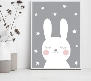 Baby Nursery Wall Art Canvas Poster Print Cartoon Rabbit Bear Painting Nordic Kids Decoration Picture Children Bedroom Decor - SallyHomey Life's Beautiful
