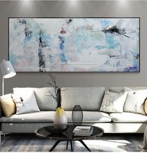Load image into Gallery viewer, Abstract painting canvas modern acrylic paintings blue handmade horizontal large canvas wall art wall pictures for living room - SallyHomey Life's Beautiful