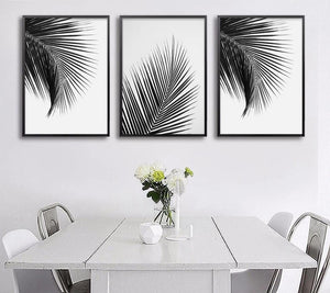 🔥Black White Palm Tree Leaves Canvas Posters and Prints Minimalist Painting Wall Art Decorative Picture Nordic Style Home Decor - SallyHomey Life's Beautiful