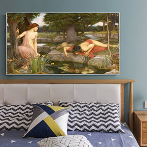 John William Waterhouse's Echo and Narcissus Posters and Prints Wall Art Canvas Painting Decorative Picture for Living Room Wall - SallyHomey Life's Beautiful