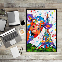 Load image into Gallery viewer, Abstract Watercolor Cow Effiel Tower Posters and Prints Wall Art Canvas Painting Wall Pictures Home Decor Dropshipping No Frame - SallyHomey Life's Beautiful