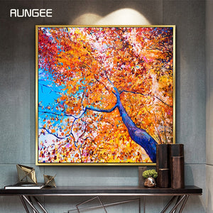 100% Hand Painted Abstract Tree Art Oil Painting On Canvas Wall Art Frameless Picture Decoration For Live Room Home Decor Gift