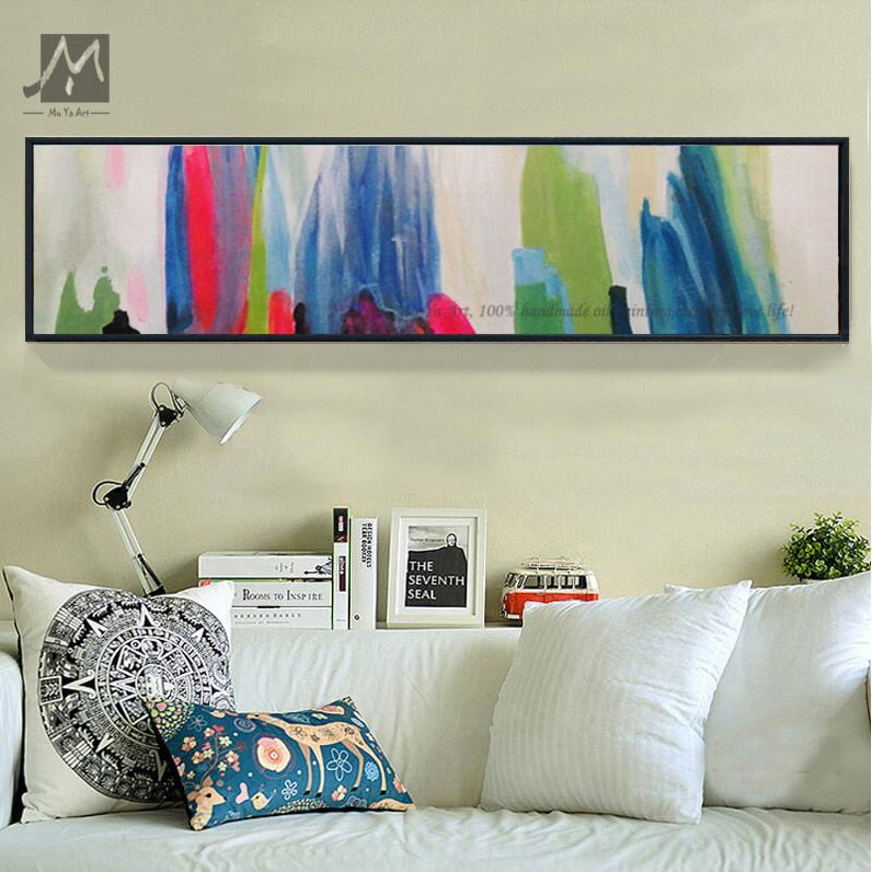 Abstract painting canvas pinturas al oleo abstractas quadro decorativo wall pictures for bedroom horizontal home deco handmade - SallyHomey Life's Beautiful
