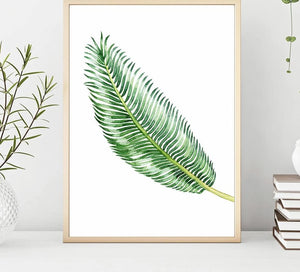 Scandinavian Watercolor Leaf Canvas Nordic Posters and Prints Green Plant Wall Art Painting Decorative Picture Modern Home Decor - SallyHomey Life's Beautiful
