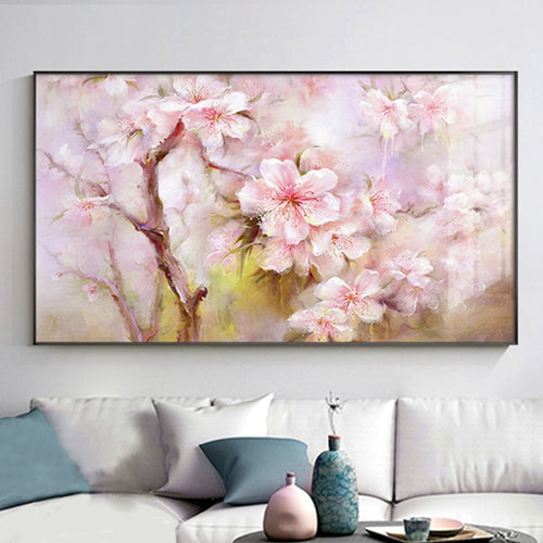 100% Hand Painted Abstract Pink Flower Oil Painting On Canvas Wall Art Wall Adornment Pictures Painting For Live Room Home Decor