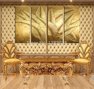 Hand Painted Gold Japanese Banana Leaf Oil Painting Modern Abstract 4 Piece Canvas Art Wall Decor Picture Sets (Other) - SallyHomey Life's Beautiful