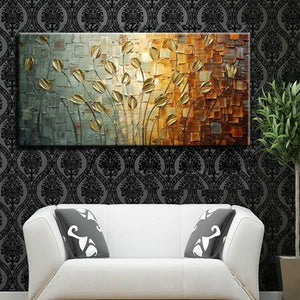 Handmade Texture Knife Flower Tree Abstract Modern Wall Art Oil Painting Canvas Home Wall Decor For Room Decoration - SallyHomey Life's Beautiful