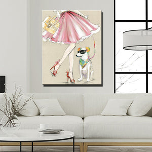 Modern Canvas Painting A Cool Dog With A Girl Oil Painting On Canvas Wall Paintings Picture For Living Room Wall Art Wall Decor - SallyHomey Life's Beautiful