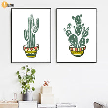 Load image into Gallery viewer, Cartoon Cactus Aloe Flower Wall Art Canvas Painting Nordic Poster And Prints Plants Wall Pictures For Living Room Home Decor - SallyHomey Life's Beautiful