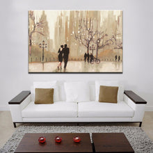 Load image into Gallery viewer, Modern Abstract Canvas Painting City Romantic Landscape Wall Art Poster Lovers Walks Prints On Canvas for Living Room Home Decor - SallyHomey Life's Beautiful