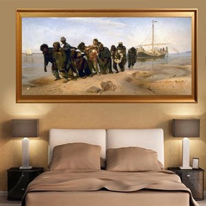 Famous Painter Ilya Repin Volga River Trackers Canvas Painting Famous Painting on Canvas Wall Art Picture for Living Room Decor - SallyHomey Life's Beautiful
