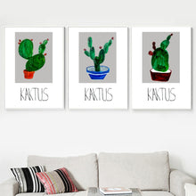 Load image into Gallery viewer, Cartoon Green Potted Cactus Quotes Wall Art Canvas Painting Nordic Posters And Prints Plants Wall Pictures For Living Room Decor - SallyHomey Life's Beautiful