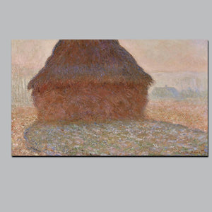 Abstract Canvas Painting Claude Monet The Haystack in Winter Morning Oil Picture Digital Printed for Living Room Home Wall Decor - SallyHomey Life's Beautiful