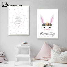 Load image into Gallery viewer, Cartoon Rabbit Nursery Quotes Canvas Poster Minimalist Wall Art Print Painting Nordic Kids Decoration Picture Baby Bedroom Decor - SallyHomey Life's Beautiful