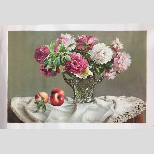 100% Hand Painted Peony Plants Bonsai Oil Painting On Canvas Wall Art Frameless Picture Decoration For Live Room Home Decor Gift